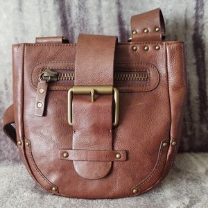 Linea Pelle Collection Brown Leather Saddle Purse